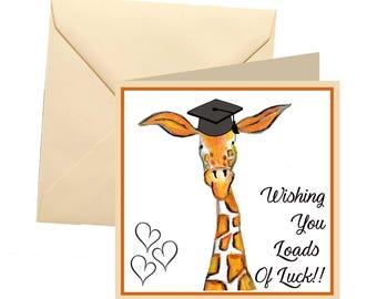Good luck at uni card, university card, good luck card, giraffe uni card, good luck university college card, good luck college card