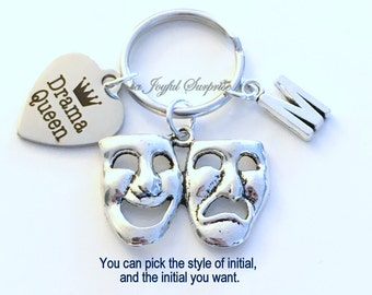 Drama Queen Key Chain, Theatre KeyChain Actress Keyring Theater Gift for Girlfriend Daughter Birthday Present Christmas initial custom masks