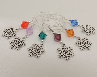 Set of 6 Silver Snowflake Wine Charms