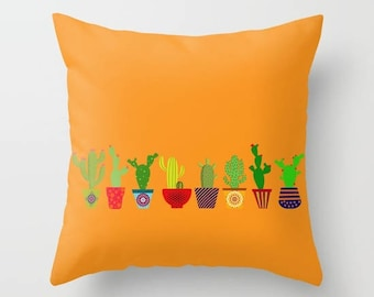 Cactus pillow cover-Cacti pillow-Floor pillow-Succulents-Cool-Colourful Pop art pillow- Cacto-16x16-18x18-20x20-Etsy gift-Modern pillow