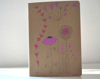 painted notebook, notebook stylized flowers romantic, feminine notebook