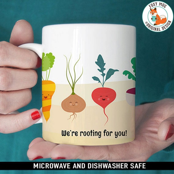 Coffee Mug We're Rooting for You Funny Vegetable Coffee Cup - Healthy Eating