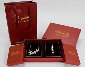 KHADIJA Name Necklace Name Bracelet Jewellery Set With Free