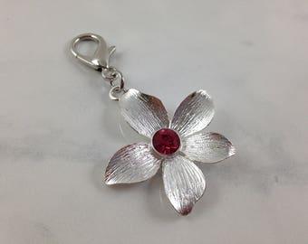 Flower Purse Charm, Zipper Pull, Clip on Charm, Purse Jewelry, Planner Charm