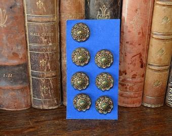 Antique Set of 7 Brass Buttons Beautiful Victorian Design