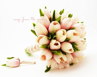 Pink Real Touch Tulips Bridal Bouquet Groom's Boutonniere - Pink Champagne Real Touch Wedding Flower Package - Customize for Your Colors