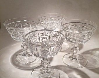 4 Cut Crystal Champagne Coupe Glasses