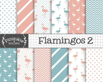 Flamingo Digital Paper, Pink and Blue, Commercial Use Scrapbooking Paper, Instant Download