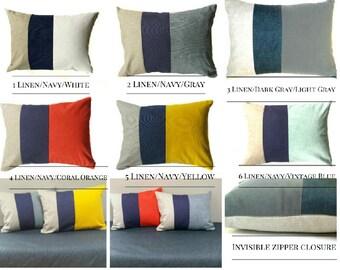 Color Block Pillow Cover Gray, Dark Gray, Linen -Coral - Yellow - Blue - Sofa Cushion Throw Pillows Couch Pillows - Invisible Zipper