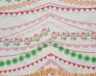 Cottage chic fabric-Cotton quilting fabric-floral fabric-banner fabric-Novelty fabric-girls fabric-Sold by the 1/2 yard