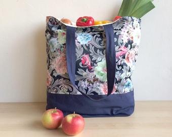 Blue baroque bag, Big shopping bag, Blue Shopper tote, Grocery bag, Shopping tote, Blue flower bag, Large shopper, Shopper bag floral