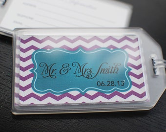 Mr. and Mrs. Luggage Tags - Chevron - Travel