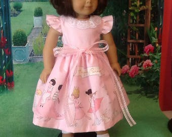 "Dress for 18"" Doll - Pink with border -flared sleeves"