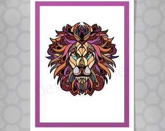 Graphic Lion Illustrated Card