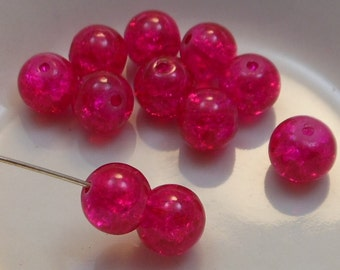 Czech Druk Beads Round Transparent Crackle Magenta 8mm (15pk) PH-8DK-CMAG