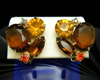 Vintage Brown Topaz Rhinestone Earrings Gold Tone Clip Ons Fall Colors
