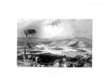 SQUAWM LAKE NEW Hampshire ~ American Landscape 1840s William Bartlett Vintage Antique Art Print Engraving [Inv#BartMsc