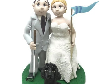 Custom wedding cake topper, Golf themed cake topper, Bride and groom cake topper, Mr and Mrs cake topper, personalized cake topper