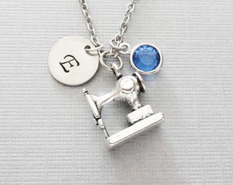 Sewing Machine Necklace, Seamstress Jewelry, Tailor Gift, Swarovski Birthstone, Silver Initial, Personalized, Monogram, Hand Stamped Letter