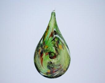 e00-66 Flat Iridescent Tear Drop Ornament Green.