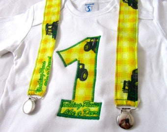 Tractor Birthday Shirt and Suspenders: boy clothing, green, brown, suspenders, birthday shirt, birthday age, birthday party outfit
