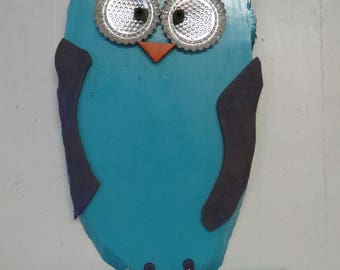 Fun Whimsy Teal Horned Owl wall or Outdoor Art Decor Re-purposed Parts Wood Purple & Teal Large