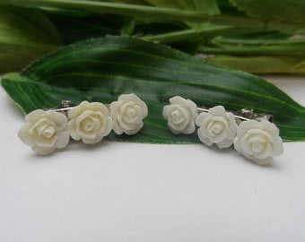 Set of 2 Flowergirl Flower hairclips, Flower Hairclips, girls hairclips, Ivory Hairclips, Wedding Accessories
