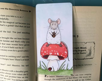 Toadstool Rat Handmade Bookmark, laminated bookmark, book lover gift, rat gift, rat mushroom gift, blue ribbon