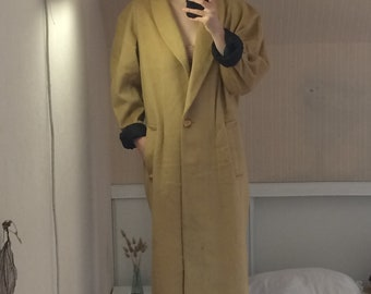 mustard yellow old beige long coat winter warm thick vintage M - L