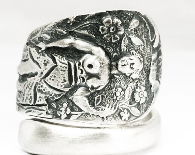 Goddess Diana Ring, Garden Ring, Sterling Silver Spoon Ring, Art Nouveau Antique British Flatware, Nude Woman, Woddland Adjustable Ring 7134