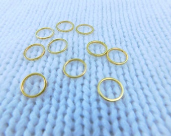 Simple gold ring stitch markers - set of 10