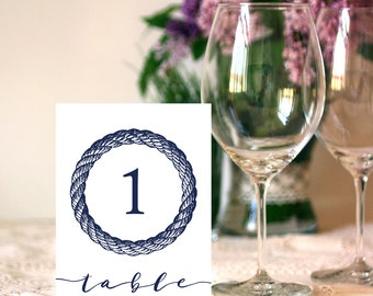 Wedding 1-15 Table Sign 5x7 Nautical Calligraphy Table Numbers Sign DIY Wedding Ceremony Printable Image Digital INSTANT DOWNLOAD 300dpi