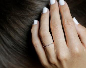 Rose Gold Diamond Band, Dainty Wedding Ring, Rose Gold Wedding Band, Black Diamond ring, 14k Solid gold