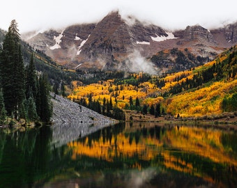 Maroon Bells, Landscape Print, Color Photography, Landscape Photo Wall Art,  Fall Colors, Autumn in Colorado, Wilderness Print, Nature Art