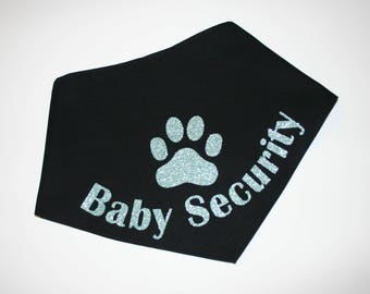 Dog BANDANA, Personalized Dog Bandana, Custom Dog Bandana, Big Brother, Dog Scarf, Black, Glitter Vinyl