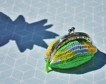 Blue yellow green purse handmade crochet, with neon green tassel finish handmade