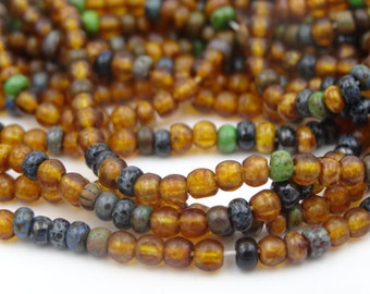 Czech Glass 8/0 Aged Harvest Blend Seed Bead Mix  3 Strands