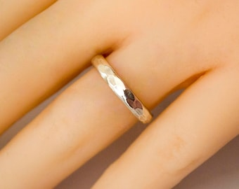 Petite Sterling Silver Hammered Band
