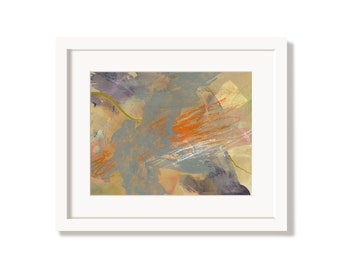 Colorful Bright Orange Happy Art Print from an Original Abstract Painting
