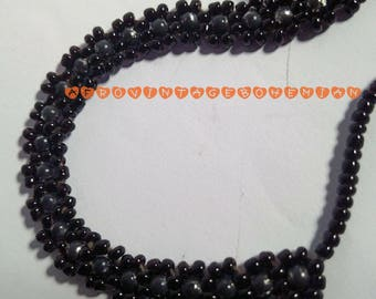 Black beaded choker. Vintage choker. Afrocentric choker. Afrocentric Accessories. Bohemian style.