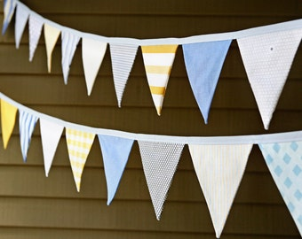 Baby Boy Bunting Banner / Nursery Decoration / Pennant Bunting / Birthday Party Decoration / Blue Gray Yellow / Cake Smash Photo Prop