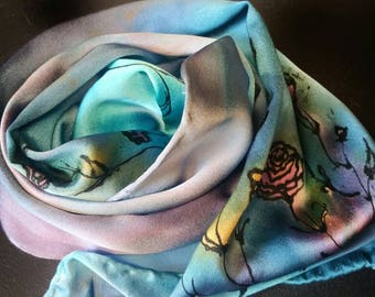 Handpainted,Soft silk charmed use scarf,oneofakind,silk small scarves for women,gifts for her,great gifts,women's accessories,