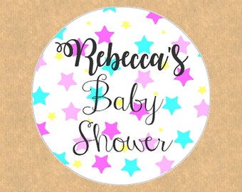 Large Personalised Baby Shower Badge Pin or Pocket Make Up Mirror Stars Design Unique Favor Gift - Set of 5