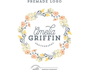 Premade Floral Wreath Logo Design, Floral Logo with Premade Watermark, Premade Wreath Logo, Photography Logo Branding, Wreath Floral Graphic