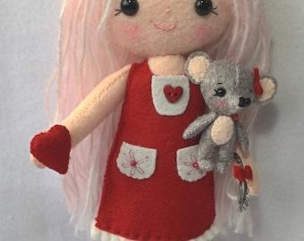 Gingermelon doll.My Felt Doll and mouse . Individual handmade doll. 100% Wool felt. Heirloom doll.