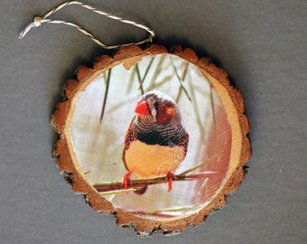 Zebra Finch Rustic Photo Ornament