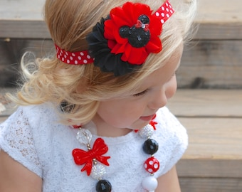 Minnie Mouse Headband, Red and black headband, Baby Headband, Toddler Headband, Hair Bows, shabby chic