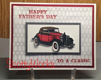 Happy Father's Day card with antique car  B11-2