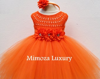 Orange Flower girl dress, orange tutu dress, bridesmaid dress, princess dress, orange crochet top tulle dress, hand knit tutu dress orange