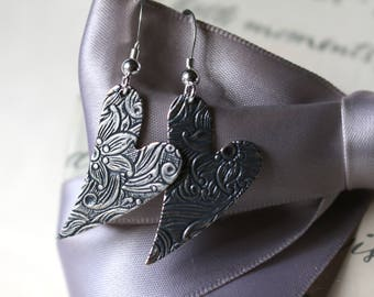 Silver embossed Heart earrings Silver plated brass with Sterling earwires